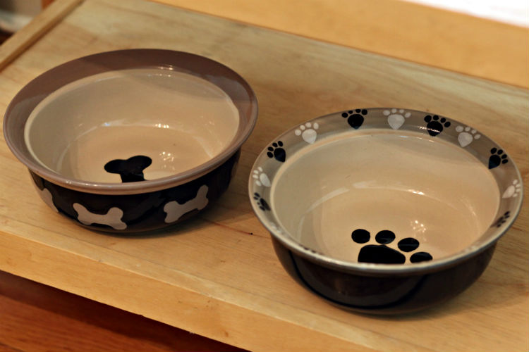 A couple of dog bowls waiting to be filled in Farmview cottage.
