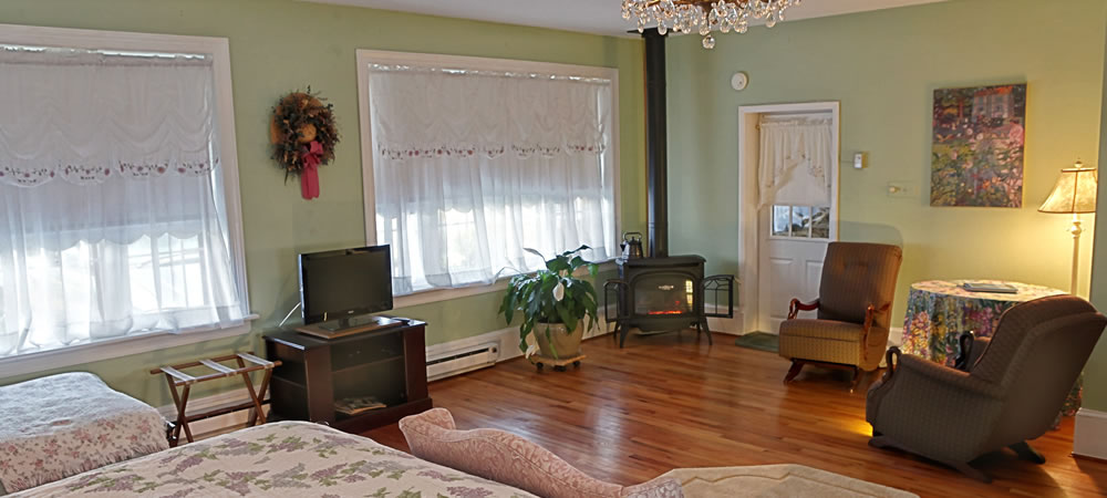 Bedroom sitting area decorated in peaceful green with flat-screen TV and sun coming in two large windows