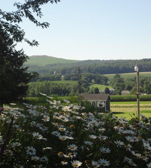 Gardens, cornfields and rolling hills outside your bedroom window